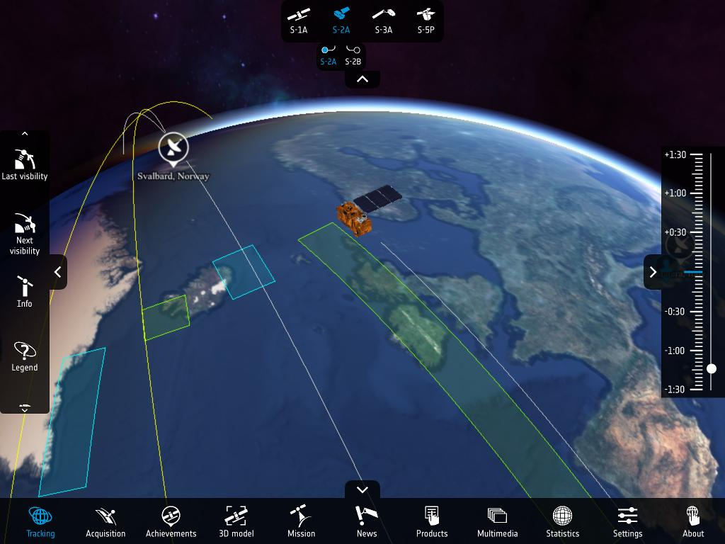 Copernicus Sentinel App on tablet